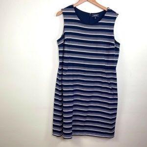 Lands End 18 Jersey Sheath Dress Blue Stripe